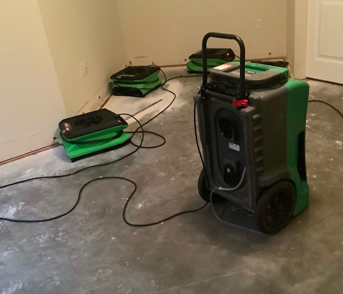 equipment set after water damage