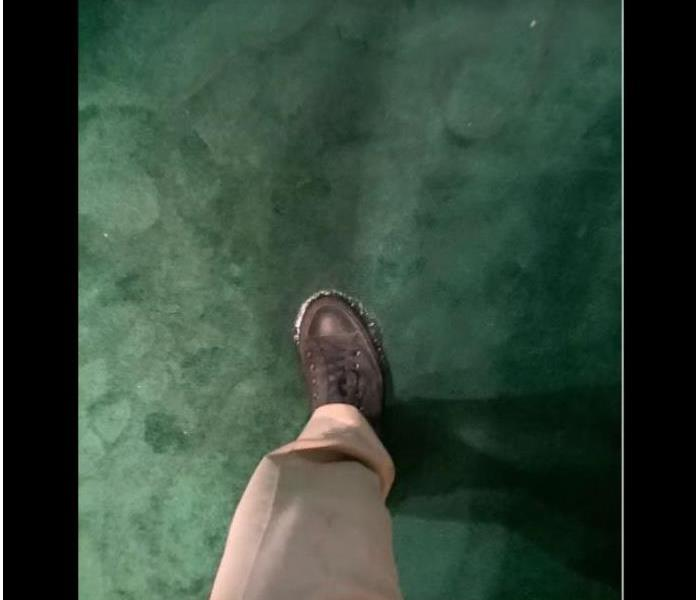 foot on wet water damaged green carpet