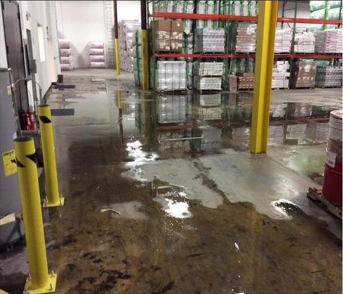 Flooding in a commercial warehouse